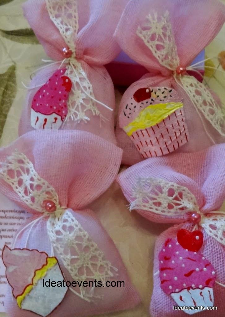 cupcakes favors μπομπονιέρα βάπτισης ρομαντική vintage
