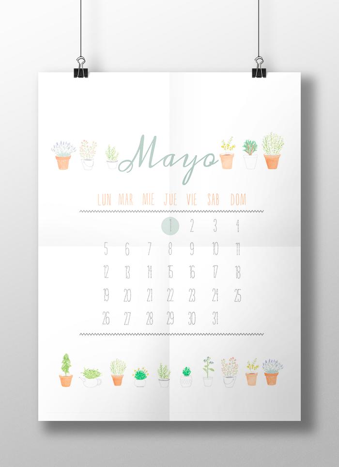 Calendario Mayo - Freebie