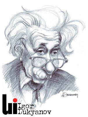 Portrait caricature Albert Einstein(hachures croisées)