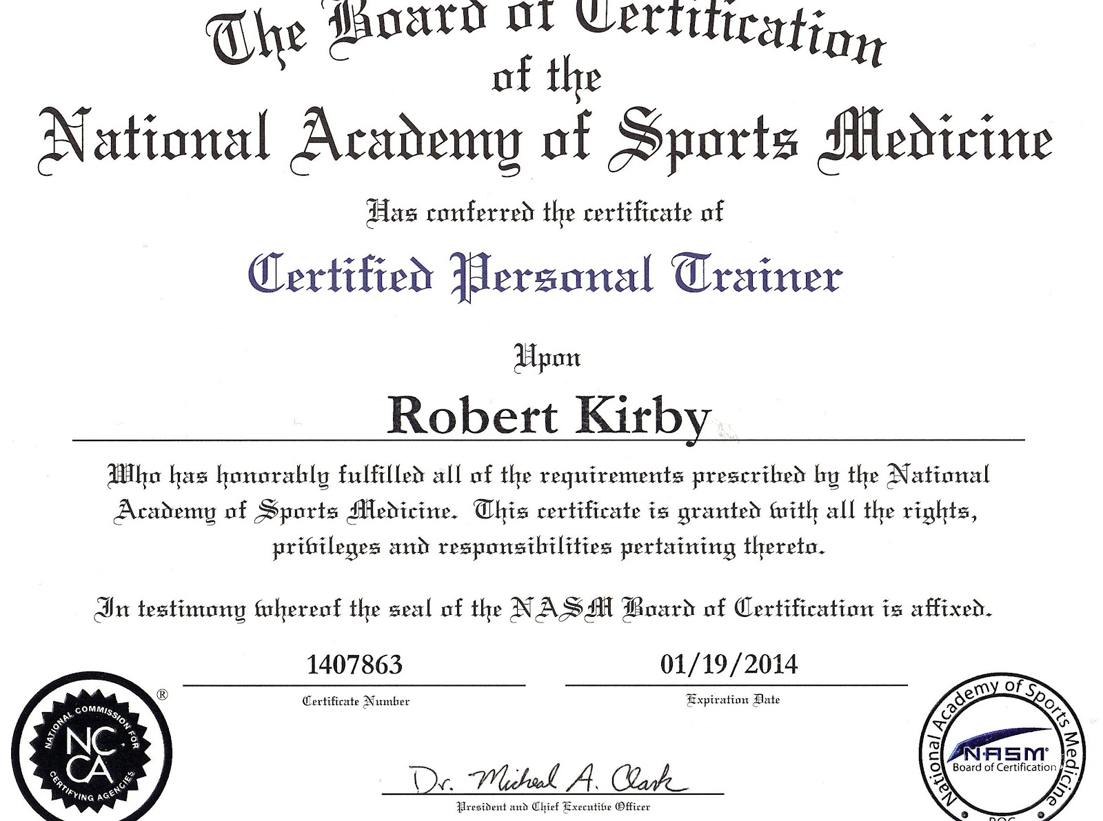 Roberts fitness insights certification validation 5 national certifications that assures my clients that i have the necessary knowledge skills and abilities to safely design and implement an effective xflitez Image collections