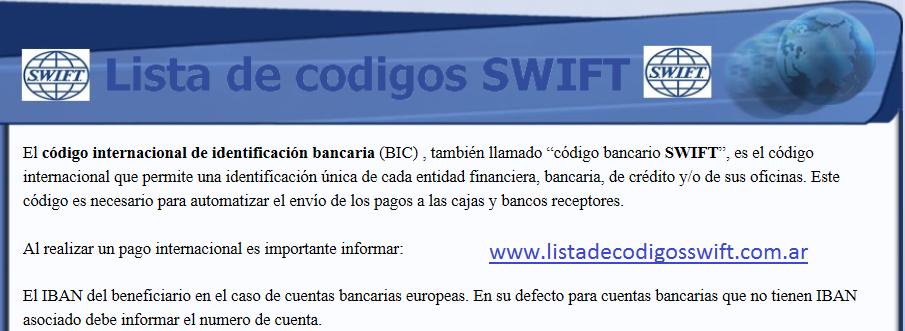 lista de codigos swift para transferencias bancarias
