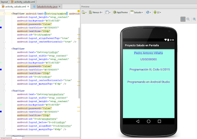 Ejemplo Android de Control Text View