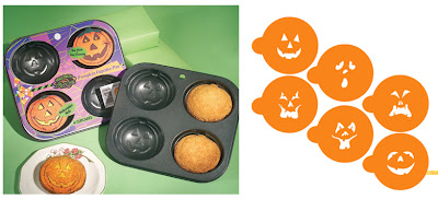 Jack-O-Lantern cupcake pan stencil