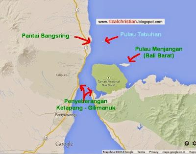 Letak lokasi Pulau Tabuhan Banyuwangi.