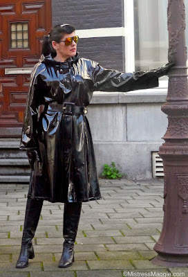 Mistress Maggie wearing her plastic mac in Masterdam