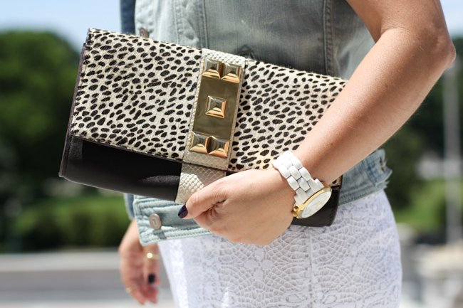 vince camuto animal print clutch