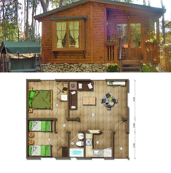 Casas de madera en espa a planos casas de madera 50 m2 - Casas de madera planos ...