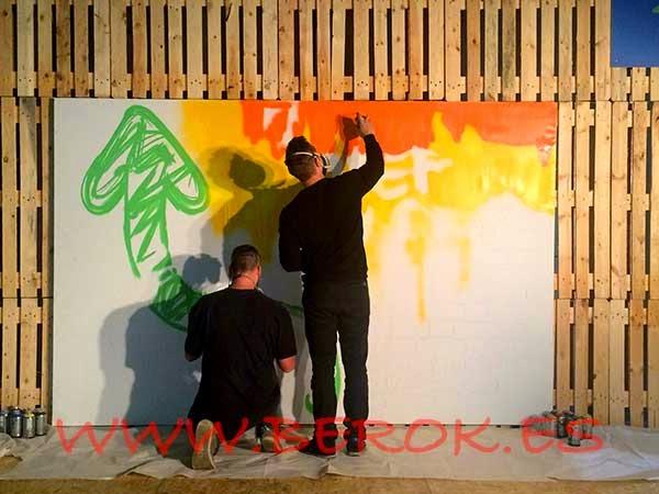 Exhibición de graffiti para el evento de la Fundació Step by Step en una cena benéfica