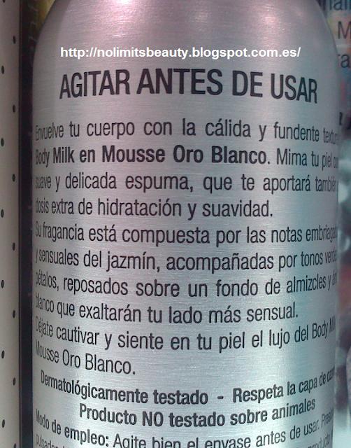 Detalle de la descripción del body milk en mousse del set de baño de Oro Blanco de Deliplús