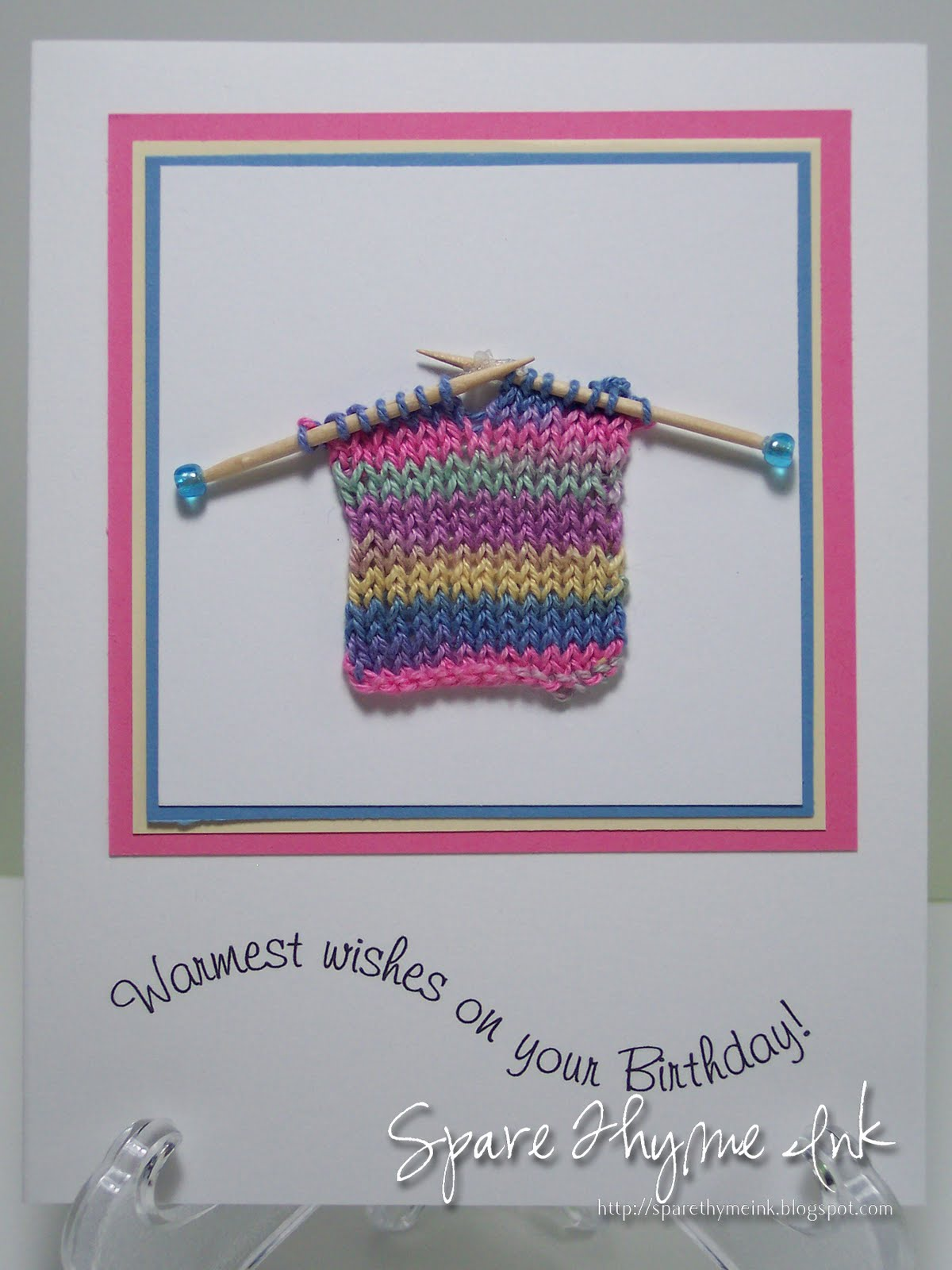 Knitting Birthday Card : Spare thyme ink knitting meets paper crafts