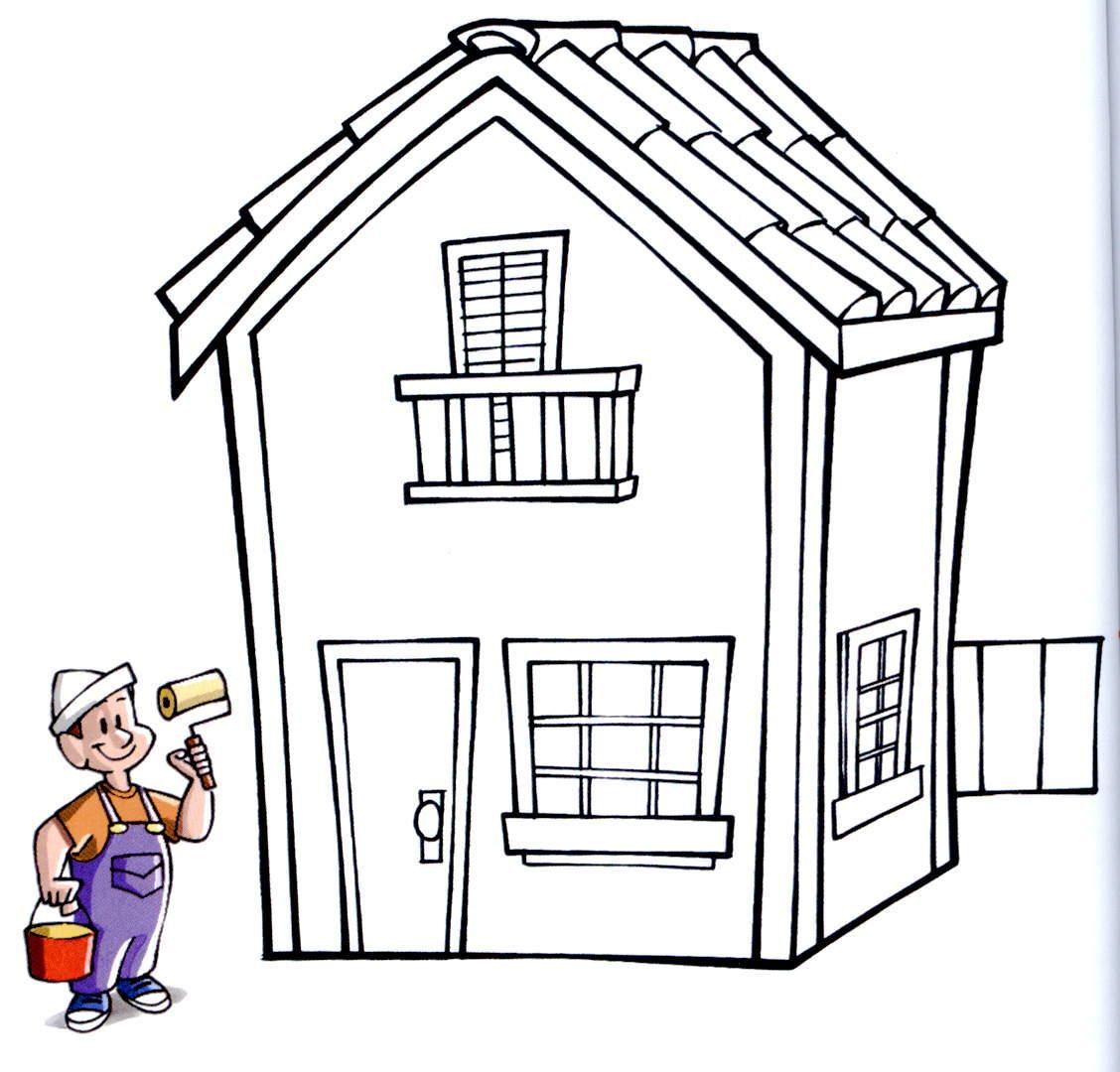 banco de atividades desenhos para colorir o pintor e a casa