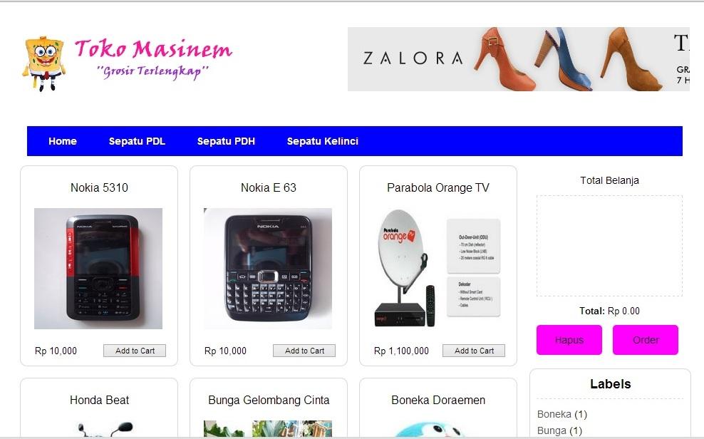 Shopping Cart Rupiah Version - free template
