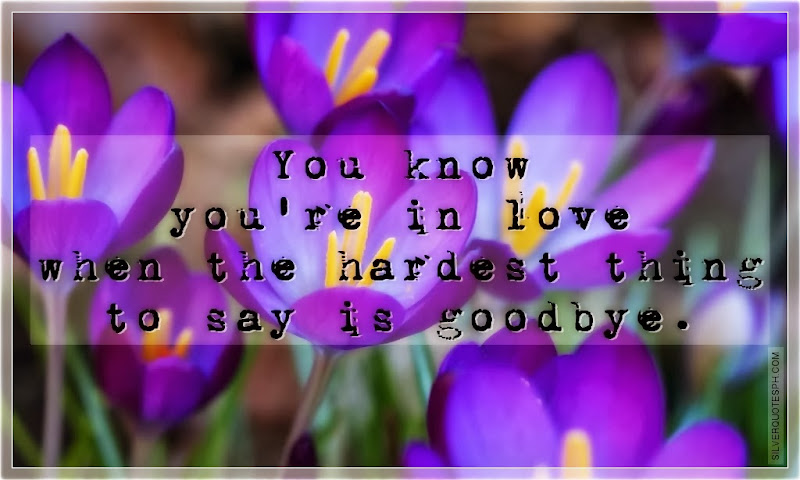 You Know You're In Love When The Hardest Thing To Say Is Goodbye, Picture Quotes, Love Quotes, Sad Quotes, Sweet Quotes, Birthday Quotes, Friendship Quotes, Inspirational Quotes, Tagalog Quotes