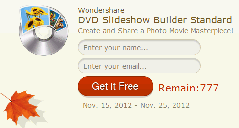 Wondershare giveaway DVD Slideshow Builder Standard