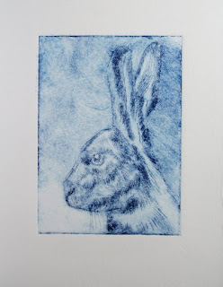 Drypoint hare print