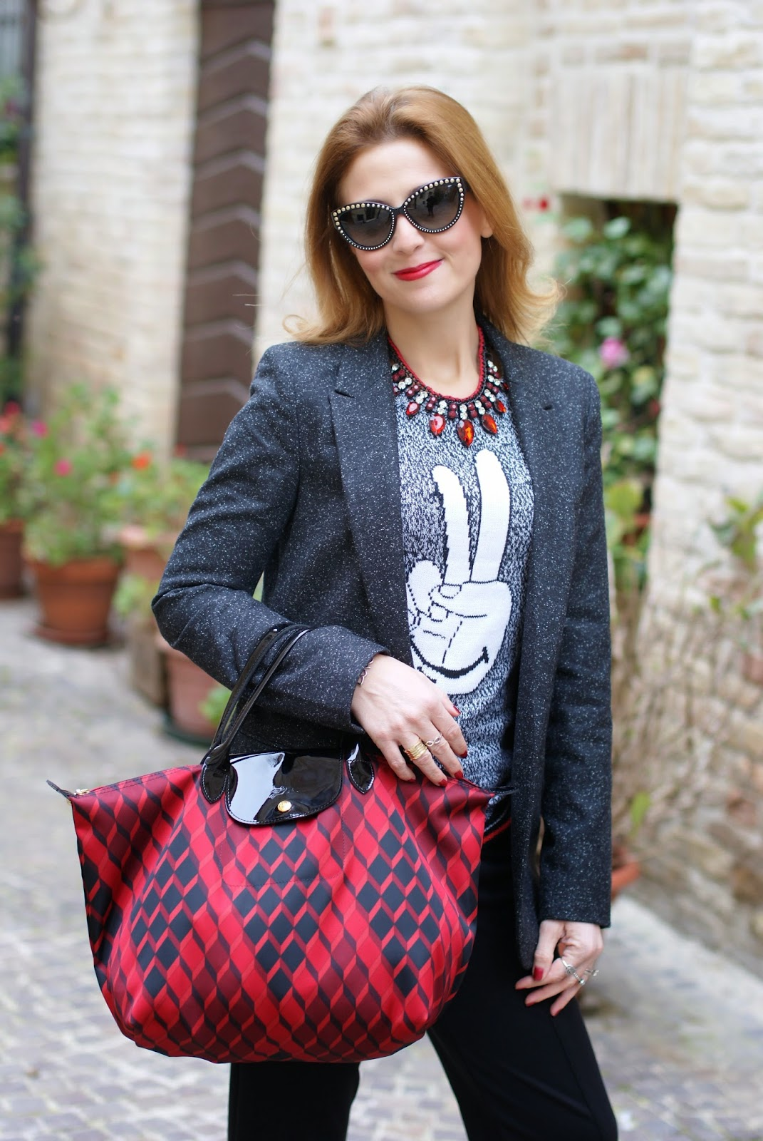 boyfriend blazer, Longchamp Le Pliage Losange handbag, Fashion and Cookies, fashion blogger