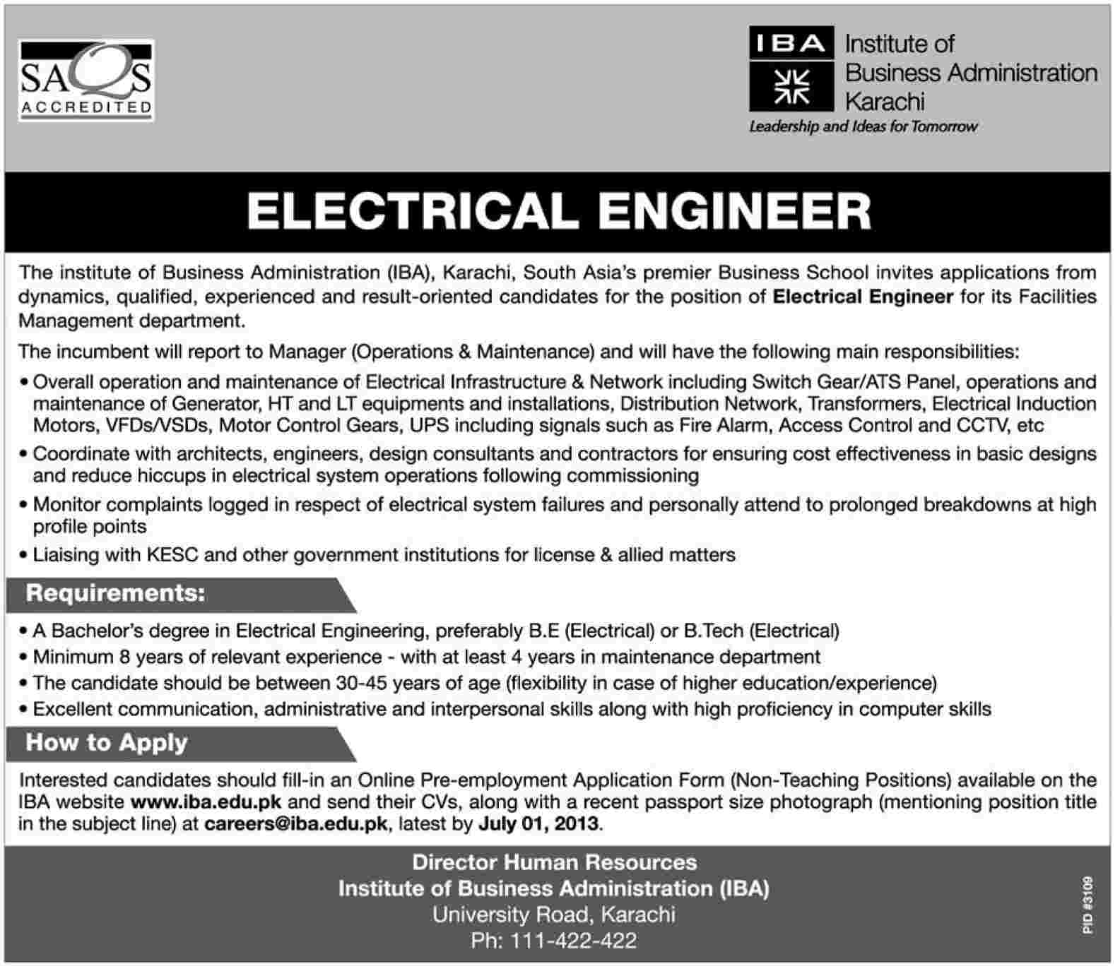 job in iba institute of business administration karachi as