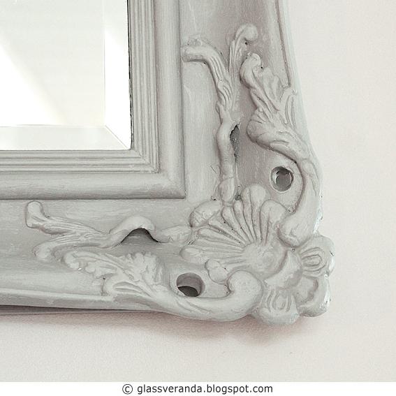 Et lite maleprosjekt: Et digert speil. Før- og etterbilder.