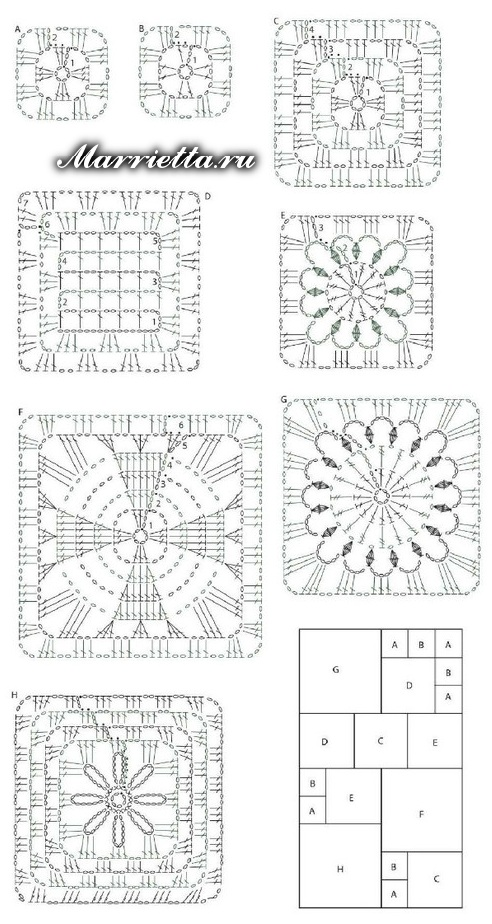 Схема вязания шарфика квадратными мотивами крючком