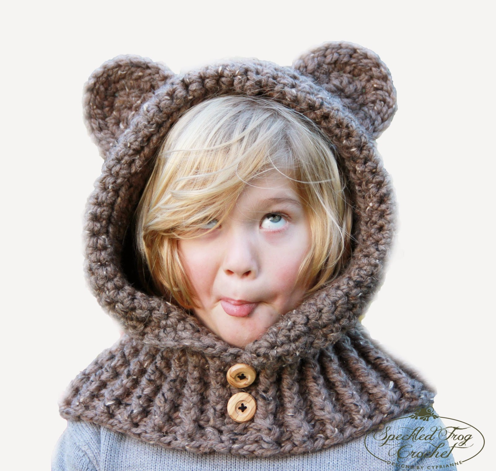 Knit Cowl Hood Pattern Free : Pretty Darn Adorable Crochet: CROCHET HOODED BEAR COWL PATTERN