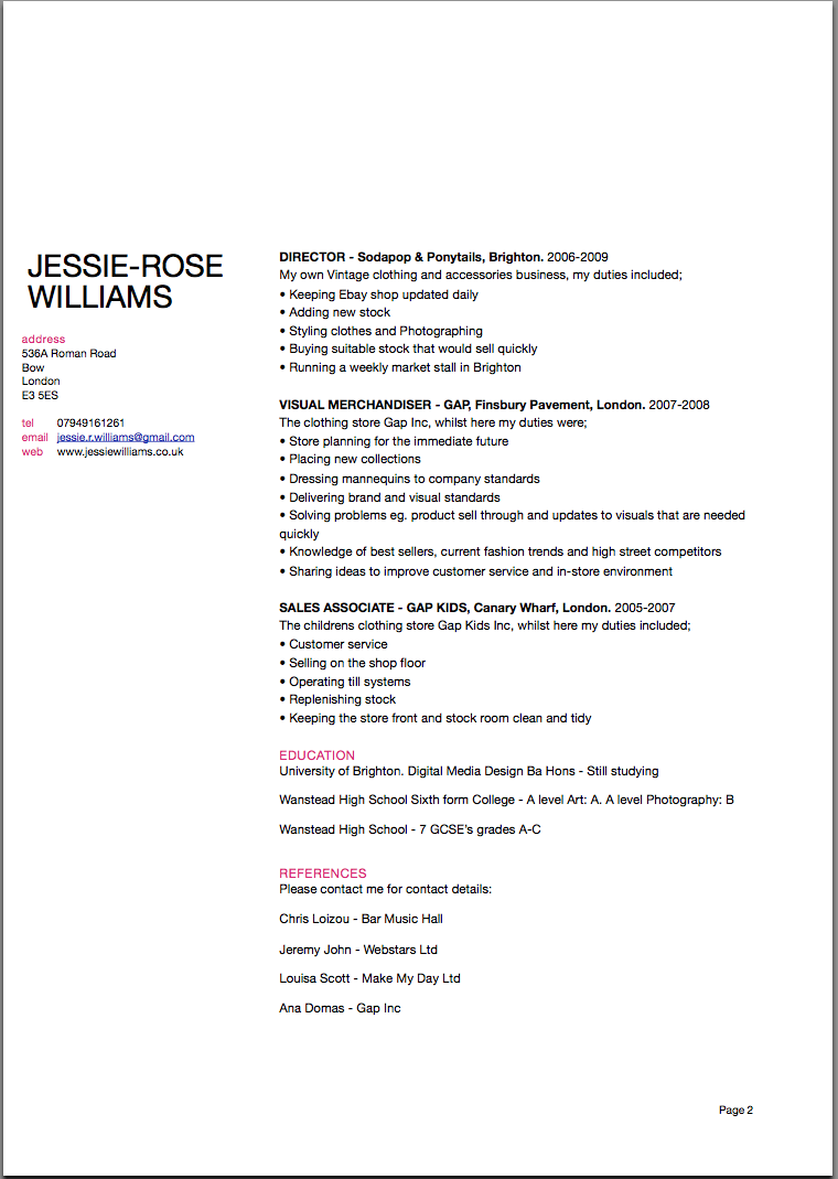 jessie rose u0026 39 s digital design  cv