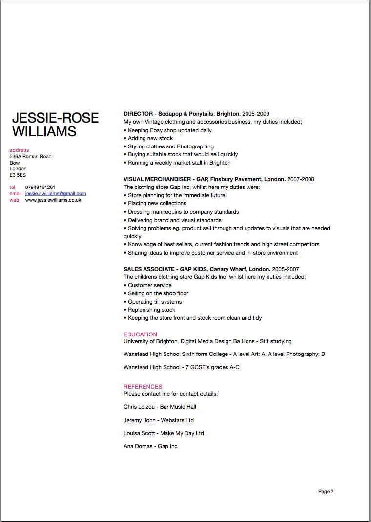 jessie rose u0026 39 s digital design  cv