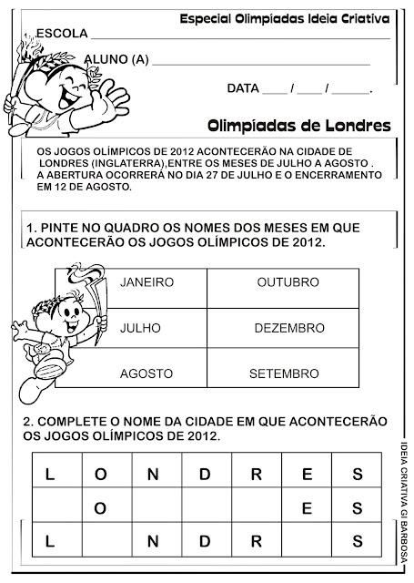 Atividade Olimpíadas de Londres Meses do Ano Vogais e Consoantes