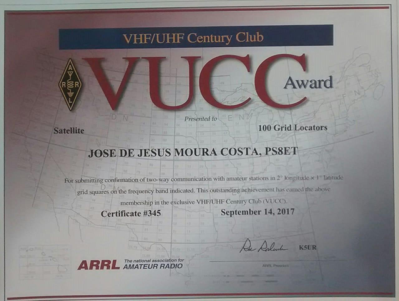 Certificado VUCC nº 345 - Satelitte