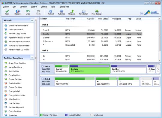 برنامج مجاني فعال لتقسيم وتعديل الأقسام والهارد ديسك ومحركات الأقراص الثابتة AOMEI Partition Assistant Standard 5.2
