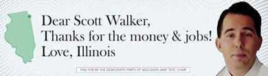 Billboard - 'Dear Scott Walker, thanks for the money & jobs! Love, Illinois'
