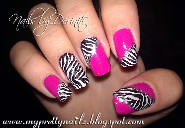 Fun Zebra Print Konad Nail Art Stamping Design - Animal Print Nail Art ...