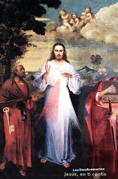 jesusucristo de la misericordia con apostoles pedro y pablo