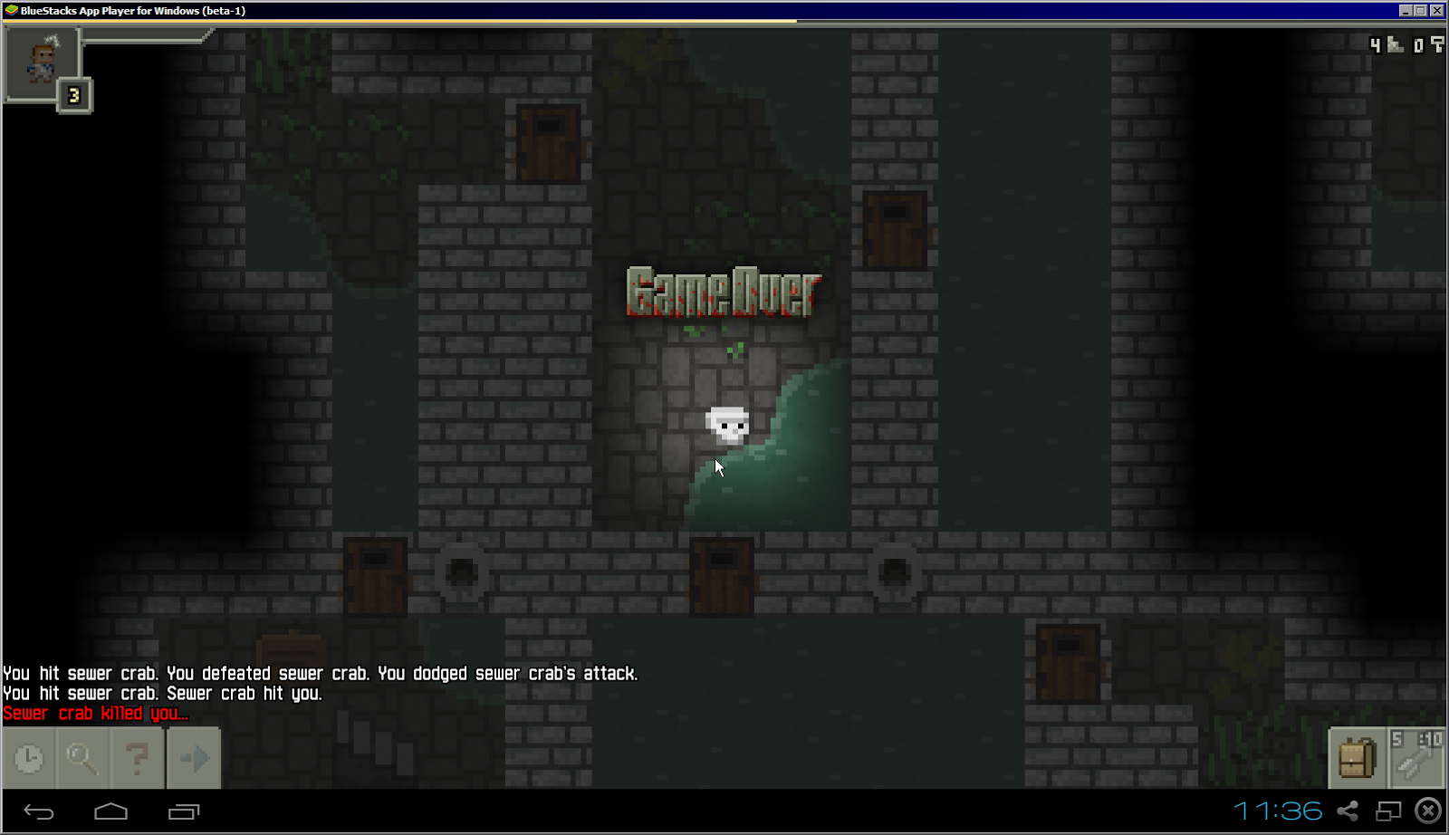 Pixel Dungeon game over screen