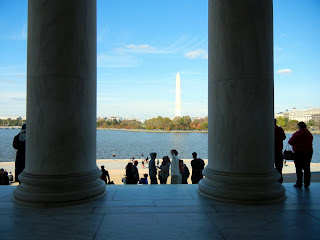 The view of the Washington Monument from the Thomas Jefferson Memorial
