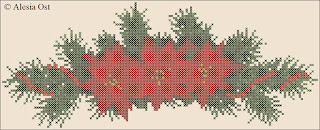 Free cross-stitch patterns, Christmas, poinsettia, flower, floral, kitchen series, kitchen, holiday, cross-stitch, back stitch, cross-stitch scheme, free pattern, x-stitchmagic.blogspot.it, вышивка крестиком, бесплатная схема, punto croce, schemi punto croce gratis, DMC, blocks, symbols