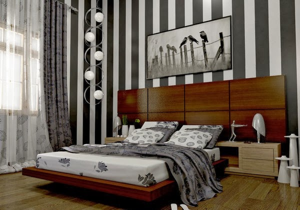 If you want a modern bedroom design contemporary with a minimalist design   the design of this one could be the right choice you need  Headboard area  is well  Minimalist Bedroom Design with Wall Stripes   Exclusive Home  . Pictures Of Well Designed Bedrooms. Home Design Ideas