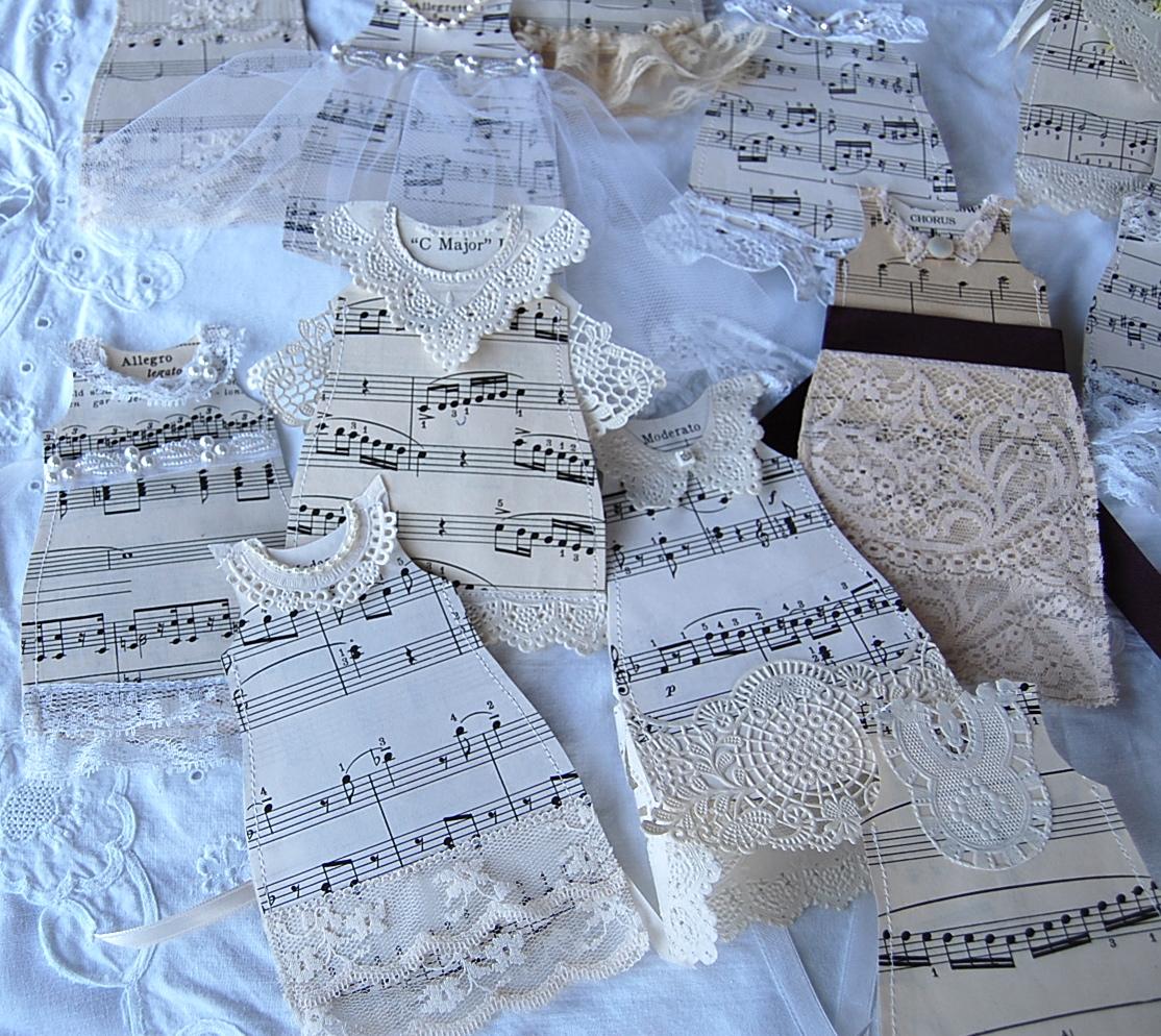 Bollywood Sheet Music September 2011: Saltbox Treasures: Sheet Music Paper Wedding Dresses