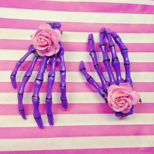 pastel goth creepy cute witch witchy etsy accessories inspiration cute kawaii skeleton bone hands hair clips slides day of the dead floral purple pink halloween