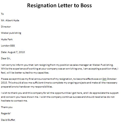 sample resignation letter format in word format