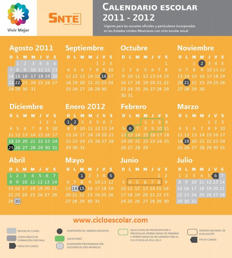 Calendario Escolar Oficial de la SEP, 2011 - 2012