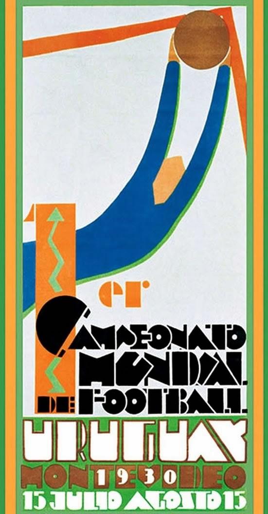 Cartaz da Copa do Mundo no Uruguai, em 1930. Desing arrojado desenvolvido por Guillermo Laborde.