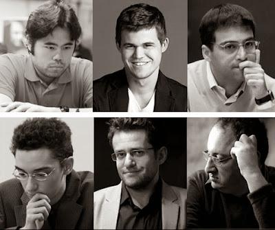 Carlsen, Aronian, Nakamura, Caruana, Gelfand et Anand – joueront le tournoi classique toute ronde Zurich Chess Challenge © site officiel