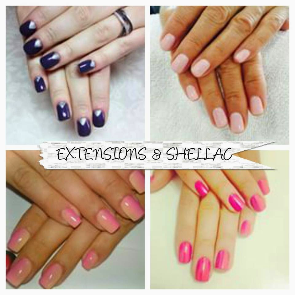 Sculpted extensions acrylics French Shellac galaxy manicure