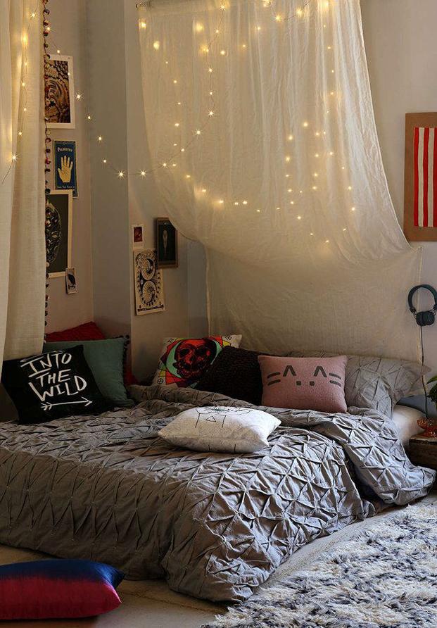 Cortinas con luces para la habitación