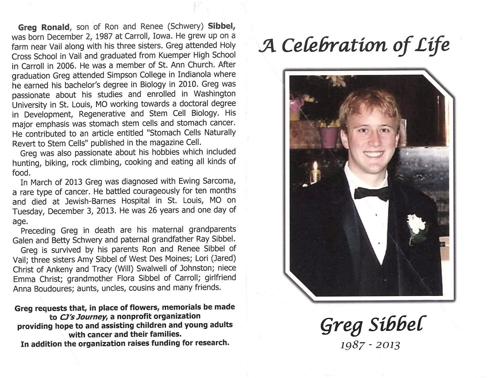 Model Organism: Greg Sibbel: Obituaries