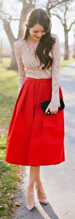 see more Red Midi Skirt with Suitable Lace. Cute View
