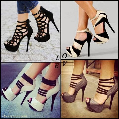 Luxurious Snake Skin Peep Toe Ankle Strap High Heel Shoes , Unique Design Ladies' Stiletto Heels Sandals, Black Butterfly Cut-Outs Stiletto Heel Ankle Strap High Heel Shoes, Fashionable White & Black Contrast Colour Peep Toe High Heel Shoes