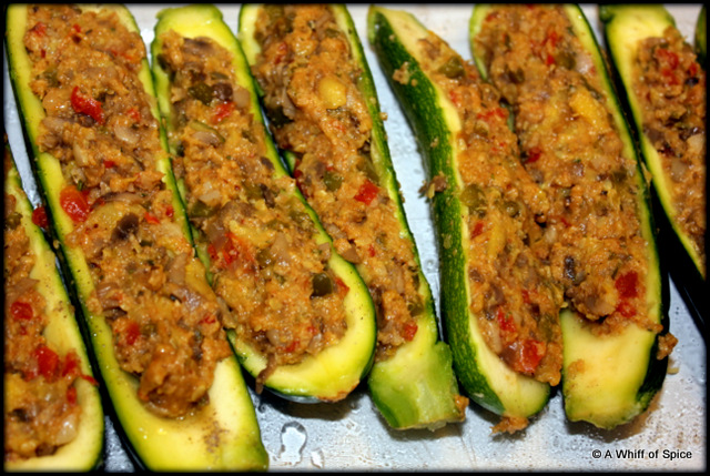 A Whiff of SpiceStuffed Zucchini Boats