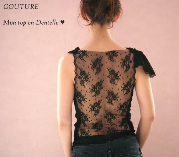 tuto couture haut sexy transparent en dentelle noir de calais