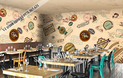 tranh tường cafe